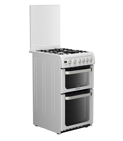 hotpoint hug52p double oven 50cm gas cooker in white. Black Bedroom Furniture Sets. Home Design Ideas
