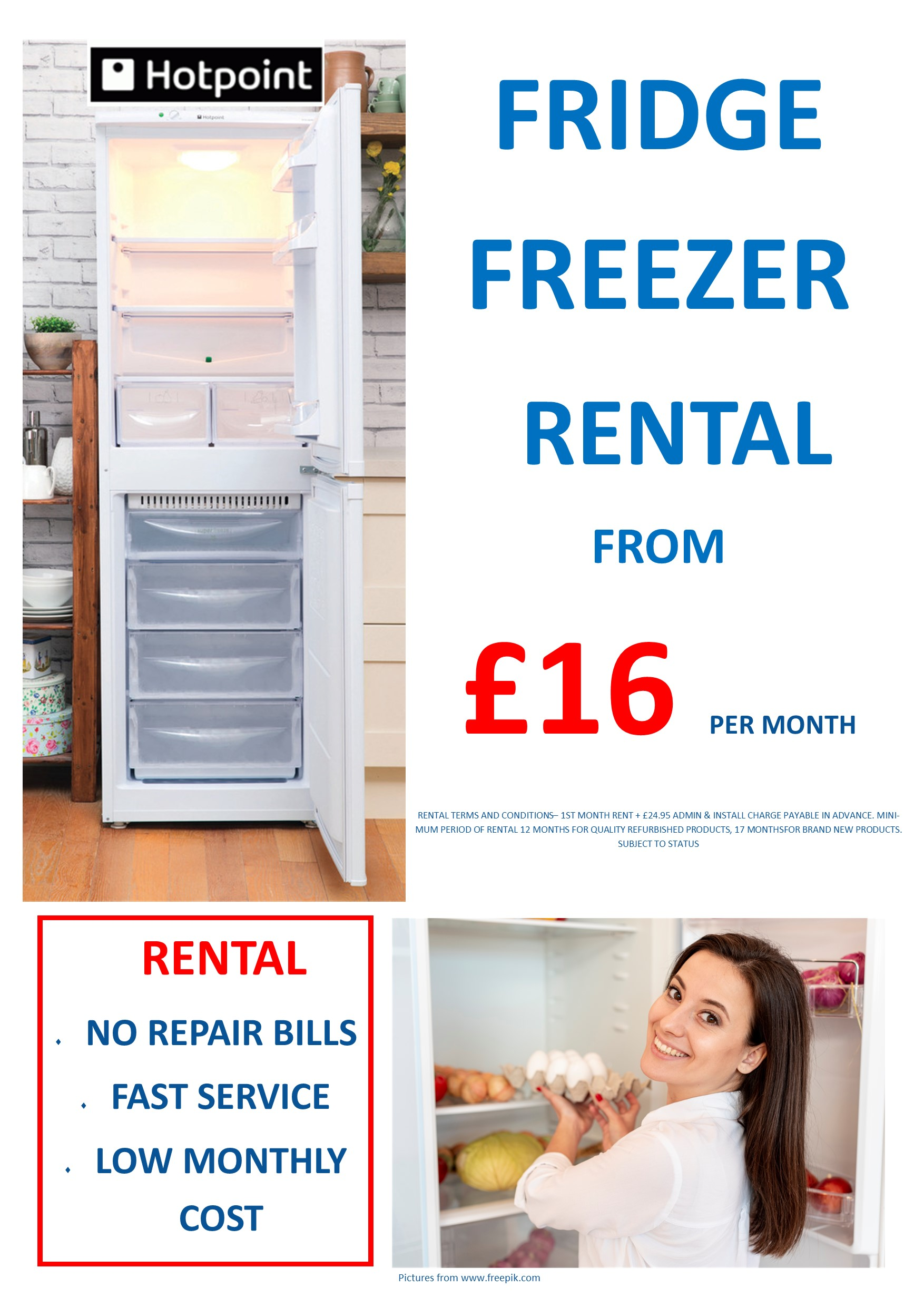 RENT this Hotpoint 55cm wide Fridge Freezer - NO REPAIR BILLS, LOW PAYMENTS