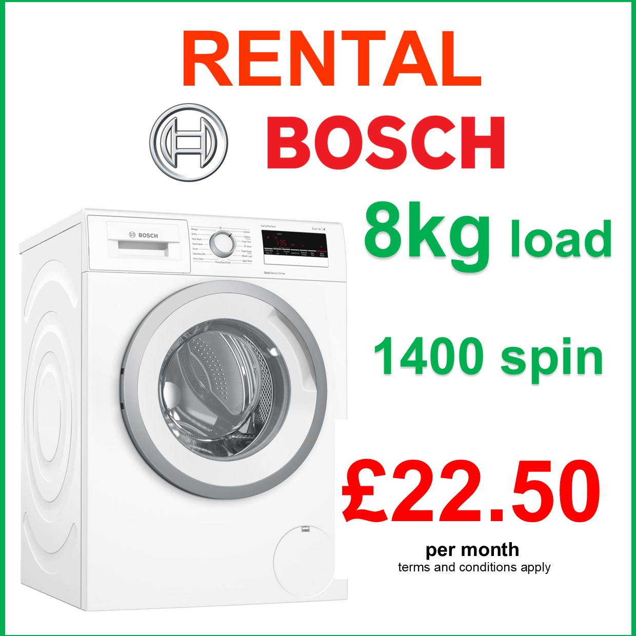 RENT THIS BOSCH  1400 SPIN 8KG LOAD WASHING MACHINE WITH 15 MINUTE FAST WASH - FREE Repairs, FAST Service, LOW Payments