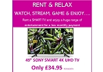 "RENT THIS Sony Bravia KD49XG7093BU LED HDR 4K Ultra HD Smart TV, 49"" with Freeview Play FOR JUST £34.95 PER MONTH"