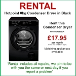 RENT this Hotpoint 8kg Sensor Condenser Tumble Dryer in BLACK