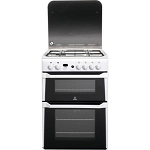 Indesit ID60G2W 60 cm Wide Double Oven Gas Cooker in White