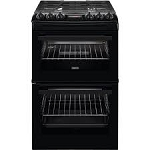 Zanussi ZCG43250BA 55cm Wide Double Oven Gas Cooker in BLACK