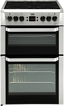 Beko BDVC667S Silver 60cm Double Oven Electric Cooker with Timer and Easy Clean Door Glass