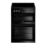 RENT this Beko Double Oven 60cm Electric Cooker in Black (Also available in white)