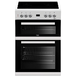 Rent this Beko Double Oven 60cm Electric Cooker in White (Also available in black)