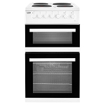 Beko EDP503W 50cm Wide Double Oven Electric Cooker with Sealed Plate Hob in White.