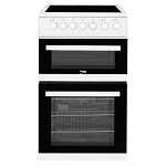 Beko EDVC503W 50cm Wide Ceramic Topped Electric Cooker with Double Oven