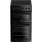 Beko EDVC503B 50cm Wide Ceramic Topped Electric Cooker with Double Oven IN BLACK