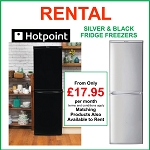 RENT this Hotpoint 55cm wide Fridge Freezer in Silver or Black- NO REPAIR BILLS, LOW PAYMENTS +Matching Products Available to Rent