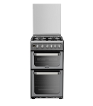 Hotpoint HUG52G Double Oven 50cm Gas Cooker in Graphite Silver