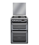 Hotpoint HUG61G Double Oven 60cm Gas Cooker in Graphite Silver