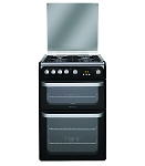Hotpoint HUG61K Double Oven 60cm Gas Cooker in Black 1 Only ex display