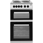 Beko KD533AS 50cm Wide Electric Cooker IN SILVER with Fan Oven , Separate Grill and 4 Sealed Plate Hobs