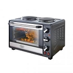 Quest 35370  Mini Table Top Oven with 2 Solid Hotplates and Rotisserie