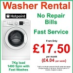 RENT a NEW Hotpoint 7kg load 1400 spin Washing Machine  - FREE Repairs, Fast Service, Upgrade Regularly