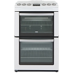 Zanussi ZCG552GWC 55cm Wide Double Oven Gas Cooker with large 77 litre main oven 1 Only ex display model