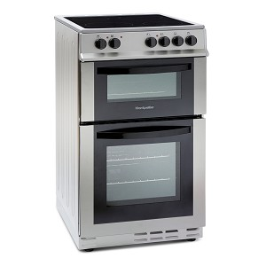 Montpellier MDC500FS 50cm Double Oven Electric Cooker with Ceramic Top in Silver. 1 ONLY DISPLAY MODEL AT THIS PRICE.