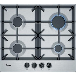 Neff T26DS49N0 60cm Gas Hob in Stainless Steel with Cast Iron Pan Supports